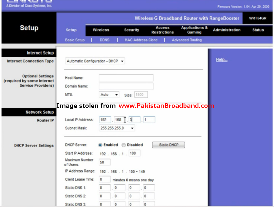 Linksys wireless router configuration with PTCL Dsl